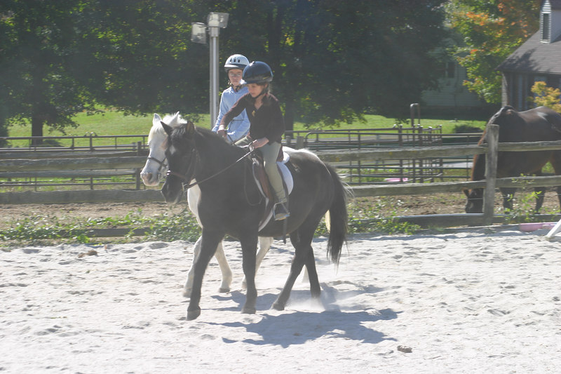 Anisa and Nina have their ponies trotting