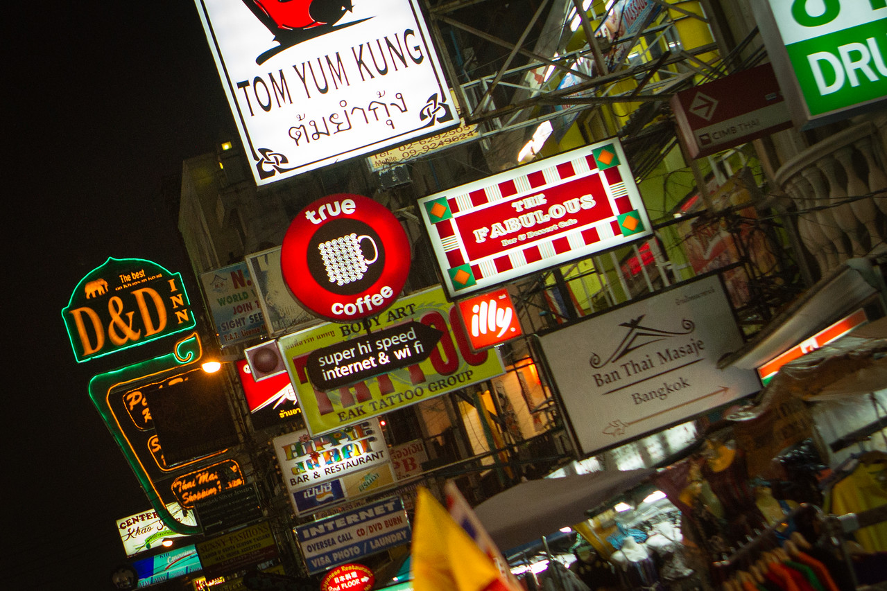 "Khao San Road, the infamous ""Backpacker Ghetto"" in Bangkok"