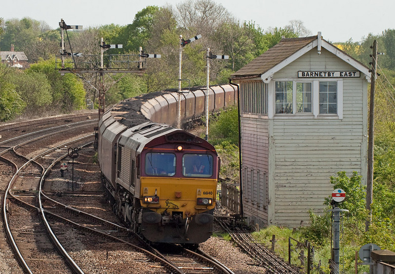66140 with a coal train passes Barnetby East.
