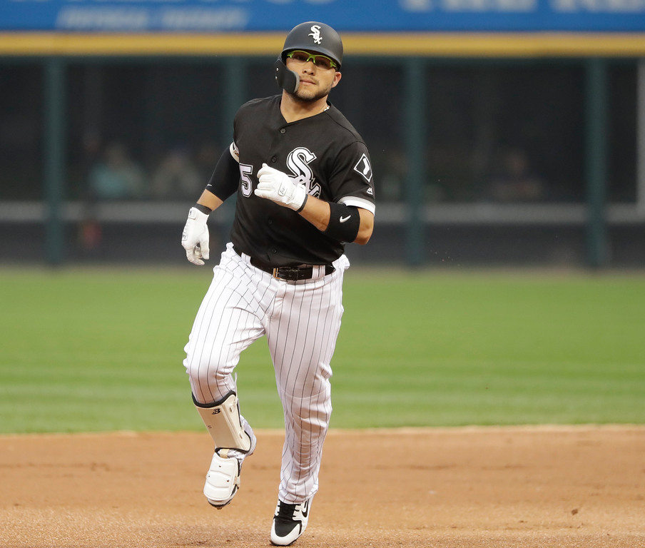 . Chicago White Sox\'s Yolmer Sanchez rounds the bases after hotting a home run off Cleveland Indians starting pitcher Adam Plutko during the first inning of a baseball game Tuesday, June 12, 2018, in Chicago. (AP Photo/Charles Rex Arbogast)