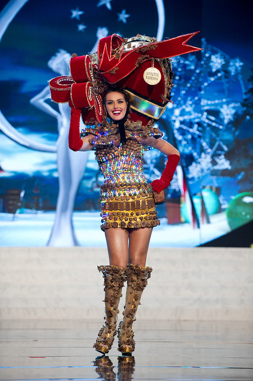 . Miss Venezuela 2012, Irene Sof�a Esser Quintero, performs onstage at the 2012 Miss Universe National Costume Show on Friday, Dec. 14, 2012 at PH Live in Las Vegas, Nevada. The 89 Miss Universe Contestants will compete for the Diamond Nexus Crown on Dec. 19, 2012. (AP Photo/Miss Universe Organization L.P., LLLP)