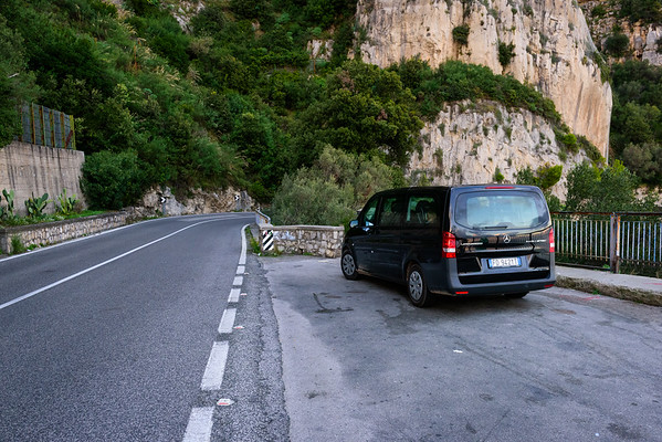 The Beast contemplates the Amalfi Coast Road at a rare quiet spot.