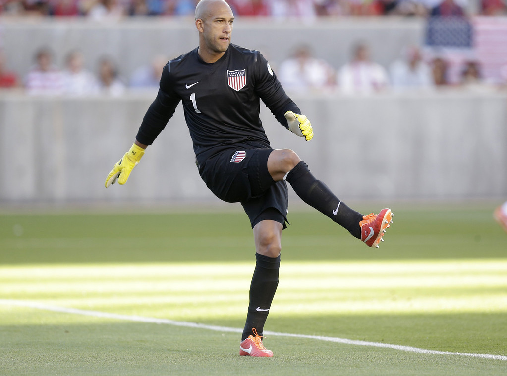 . United State\'s goalie Tim Howard follows through with a kick in the first half during an World Cup qualifying soccer match against Honduras, at Rio Tinto Stadium on Tuesday, June 18, 2013, in Sandy, Utah.  (AP Photo/Rick Bowmer)