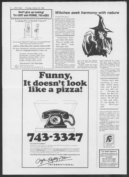 Daily Trojan, Vol. 102, No. 42, October 30, 1986