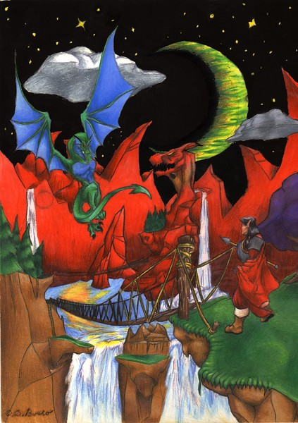 David drew this and the next two drawings when he was in high school (they were drawn with colored pencil). I never realized that there was a dragon in the photo (the one just below the moon) until I scanned it to post it here.