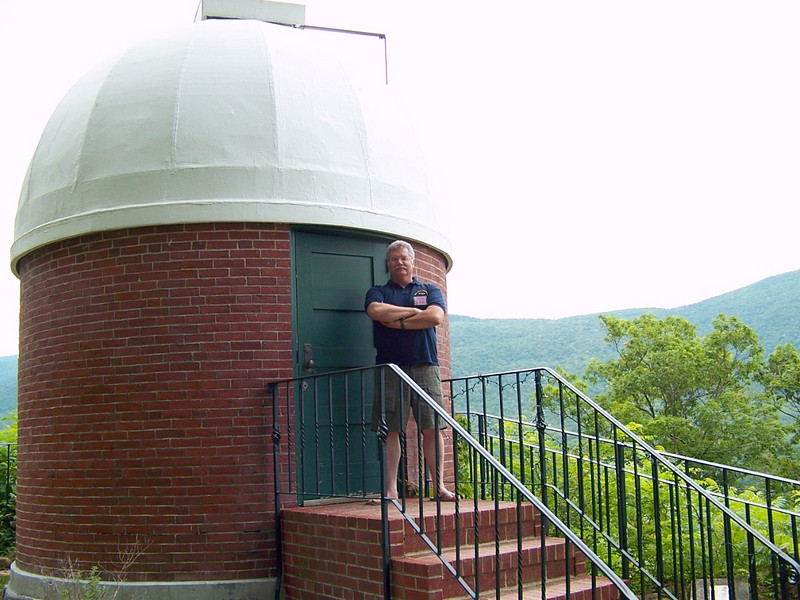 Al Paslow at the dome of the 6 inch Brashear refractor at Hildene. Aug 2008.