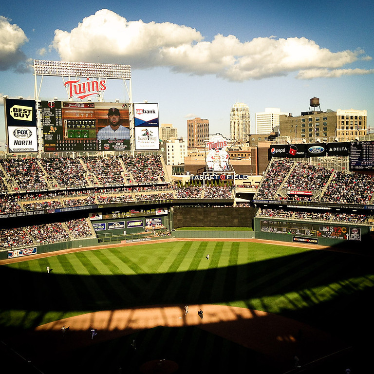 . Mostly sunny skies and temperatures in the mid-50\'s greeted the sell-out crowd at Target Field for the Twins\' opener against the A\'s. (Pioneer Press: Ben Garvin)