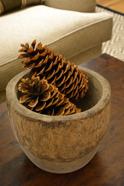 Pottery and pine cones in the lobby at the Taconic Hotel in Manchester, VT