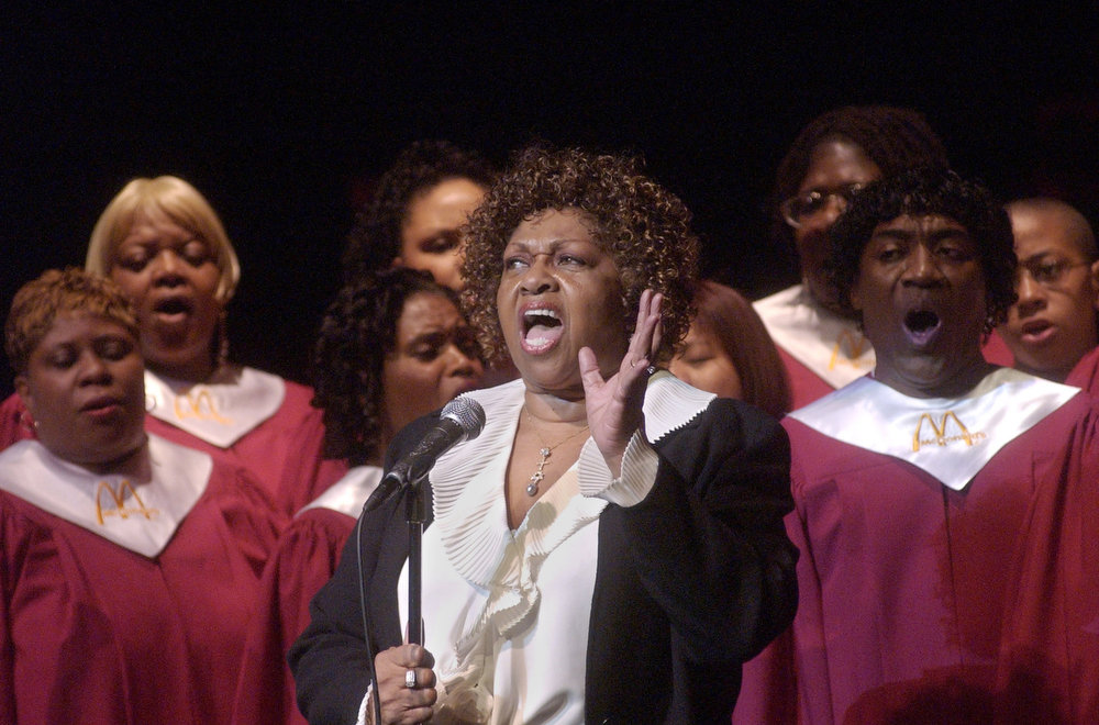 Description of . Dr. Emily Cissy Houston sings at a ceremony celebrating the first day of black history month at the Schomburg Center for Research in Black Culture Saturday, Feb. 1, 2003 in New York. The ceremony sponsored by McDonalds is part of a month long tribute to notable African-Americans.  (AP Photo/Frank Franklin II)