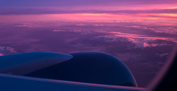 Sunrise over Nevada from 35000ft