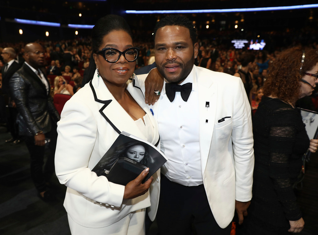 . Oprah Winfrey, left, and Anthony Anderson attend the 69th Primetime Emmy Awards on Sunday, Sept. 17, 2017, at the Microsoft Theater in Los Angeles. (Photo by Matt Sayles/Invision for the Television Academy/AP Images)
