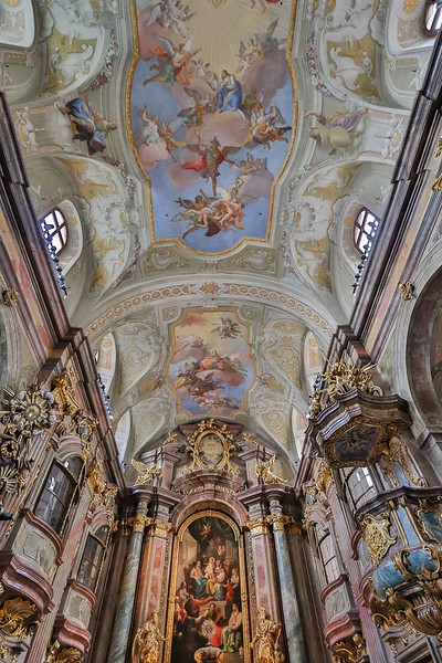 St. Anne's Church ceiling and upper altar.