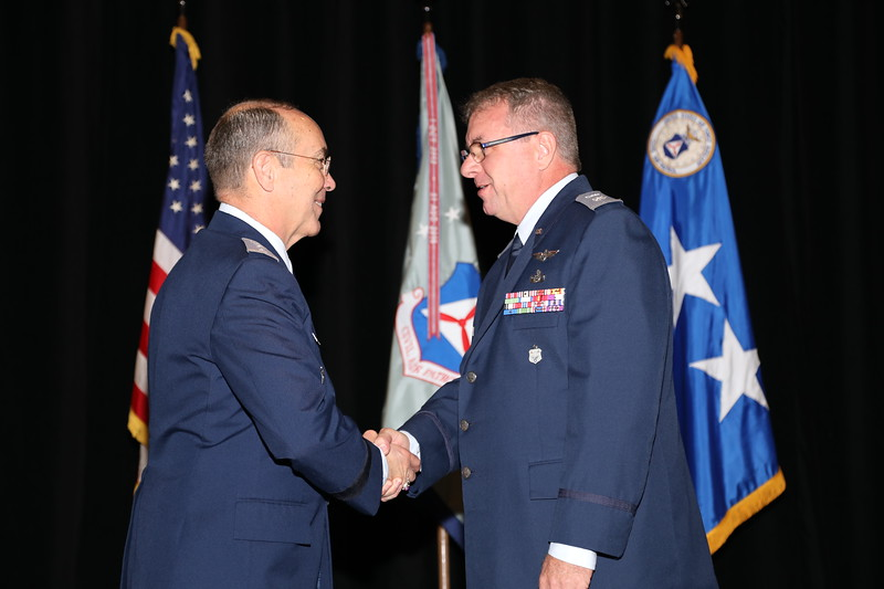 The Col David A. Kantor Operations Staff Officer of the Year Award, presented for the 1st time, is awarded to Lt Col Eric Templeton, currently assigned to Civil Air Patrol's NESA Squadron.  Photo by Susan Schneider, CAPNHQ