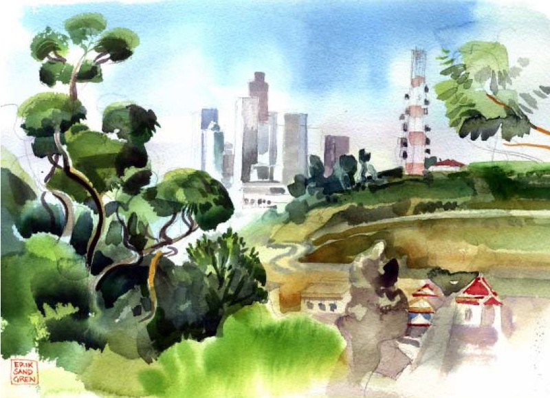 2006, Downtown and Radio Hill Watercolor