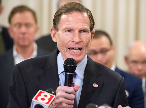 01/10/20 Wesley Bunnell | Staff Senator Richard Blumenthal speaks to the press during a conference on Friday afternoon. Senator Richard Blumenthal along with Governor Ned Lamont, Hartford Mayor Luke Bronin, Lt. Gov. Susan Bysiewicz, other government officials and community activists mets at Hartford City Hall on Friday afternoon to discuss how to help Puerto Rico after a series of earthquakes recently. The Senator called for fair and affordable prices on airline tickets leaving Puerto Rico which have skyrocketed in price. Others noted the Trump administrations failure to release federal funding already designated for relief efforts two years ago after Hurricane Maria.