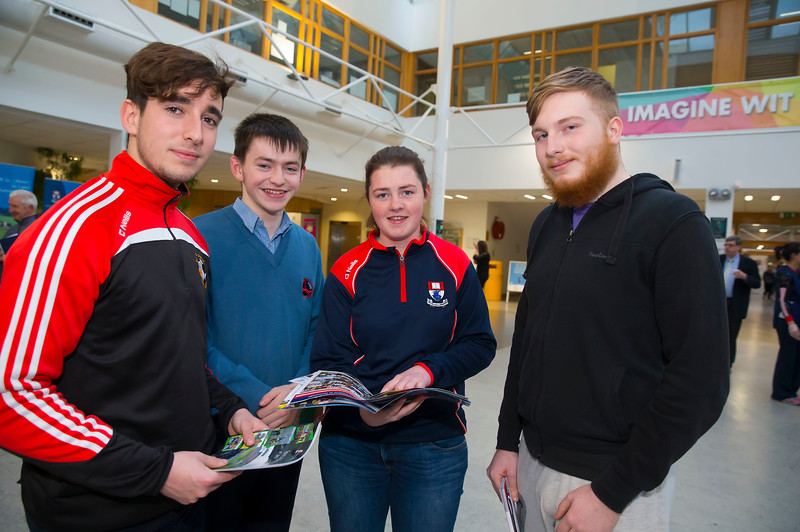 Pictured at the CAO Information Evening  at WIT Main Campus are Emre Yilmaz, Oisin Kehoe and Gary Smithers from Carlow with Roisin O'Donnell, Student Ambassador and President Scholarship Student. Picture: Patrick Browne  The event gave school leavers, parents, mature students a chance to learn more about areas of study they're interested in and learn about student life at WIT. The evening featured: lecturers were available to talk about specific course information; current students were on hand to talk about their college experiences; fees and grants and student supports information; chance to take a tour of the campus and facilities; book on-campus accommodation.   Elaine Larkin, PR Executive, WIT 051-845577