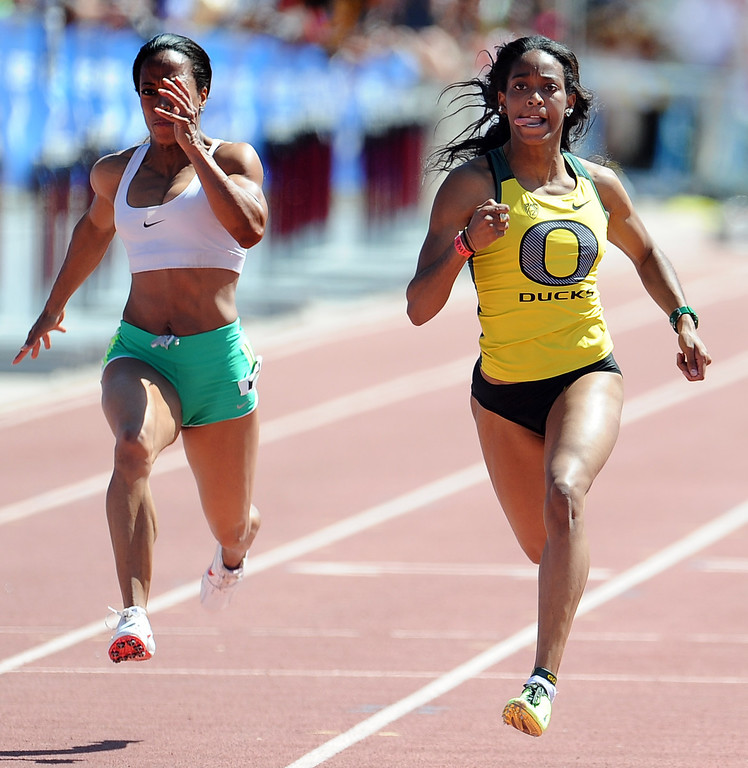 . English Gardner of Oregon wins the 100 meter dash invitational elite during the Mt. SAC Relays in Hilmer Lodge Stadium on the campus of Mt. San Antonio College on Saturday, April 20, 2012 in Walnut, Calif.    (Keith Birmingham/Pasadena Star-News)