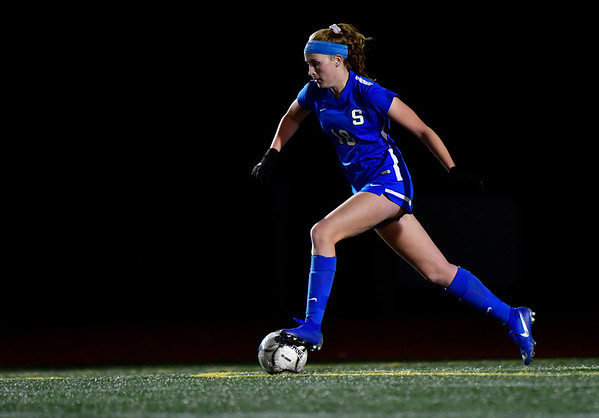 11/23/2019 Mike Orazzi | Staff Southington High School's Abigail Sowa (18) during the Class LL Girls State Soccer Tournament at Veterans Stadium in New Britain Saturday evening. Glastonbury defeated Southington 1-0.