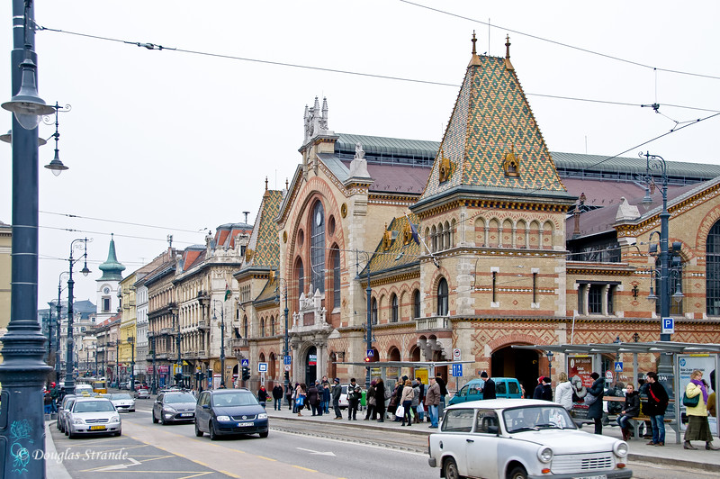 Street view of the covered Market in Budapest.