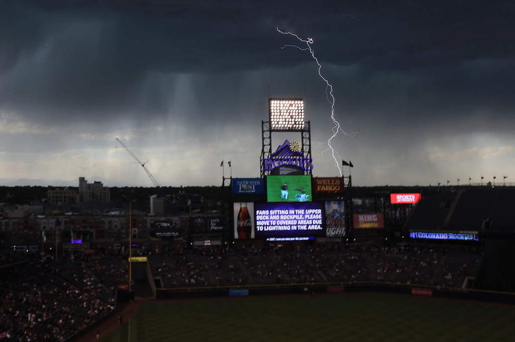 . DENVER, CO - AUGUST 10:  Lightning stikes as a storm cell delays the start of the game between the Pittsburgh Pirates and the Colorado Rockies at Coors Field on August 10, 2013 in Denver, Colorado. Fans were evacuated from the upper deck due to the danger from the lightning.  (Photo by Doug Pensinger/Getty Images)