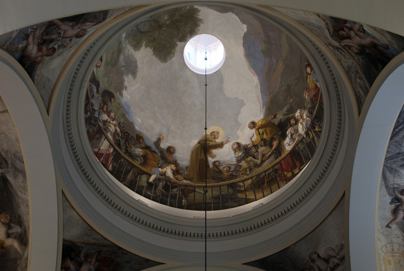 A Goya fresco inside the Royal Chapel of St. Anthony of La Florida in Madrid, Spain