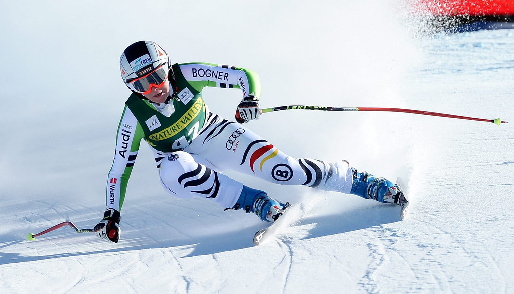 . Skier Michaela Wenig of Germany, takes a turn during the women\'s downhill race at the FIS World Cup Alpine Skiing in Beaver Creek, Colorado, USA, 29 November 2013.  EPA/JUSTIN LANE