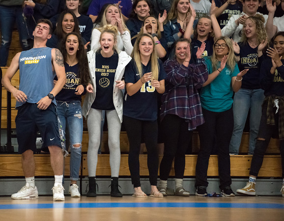 06/04/18 Wesley Bunnell | Staff Newington volleyball defeated South Windsor 3-0 in a game played at Glastonbury High School on Monday evening. Newington fans react to a point.