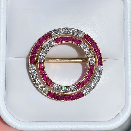 2.90ctw French Ruby and Diamond Brooch, by La Cloche Fres of Paris