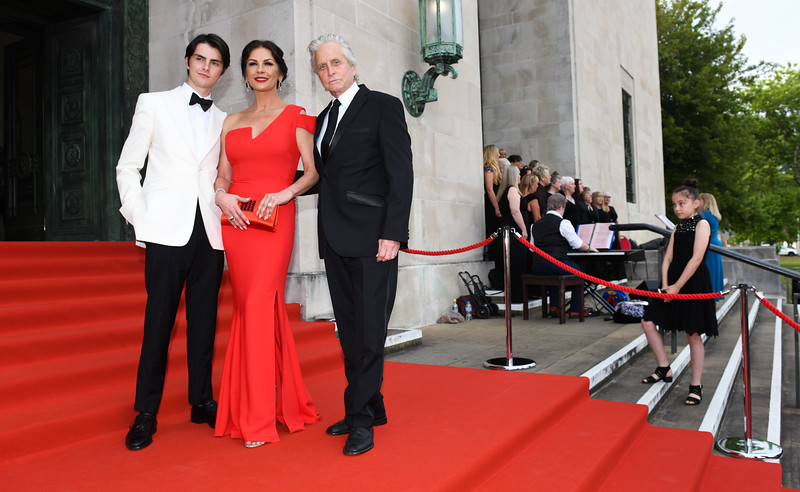 Catherine Zeta-Jones and Michael Douglas arrive at a Gala Dinner to celebrate her Freedom of the City of Swansea.