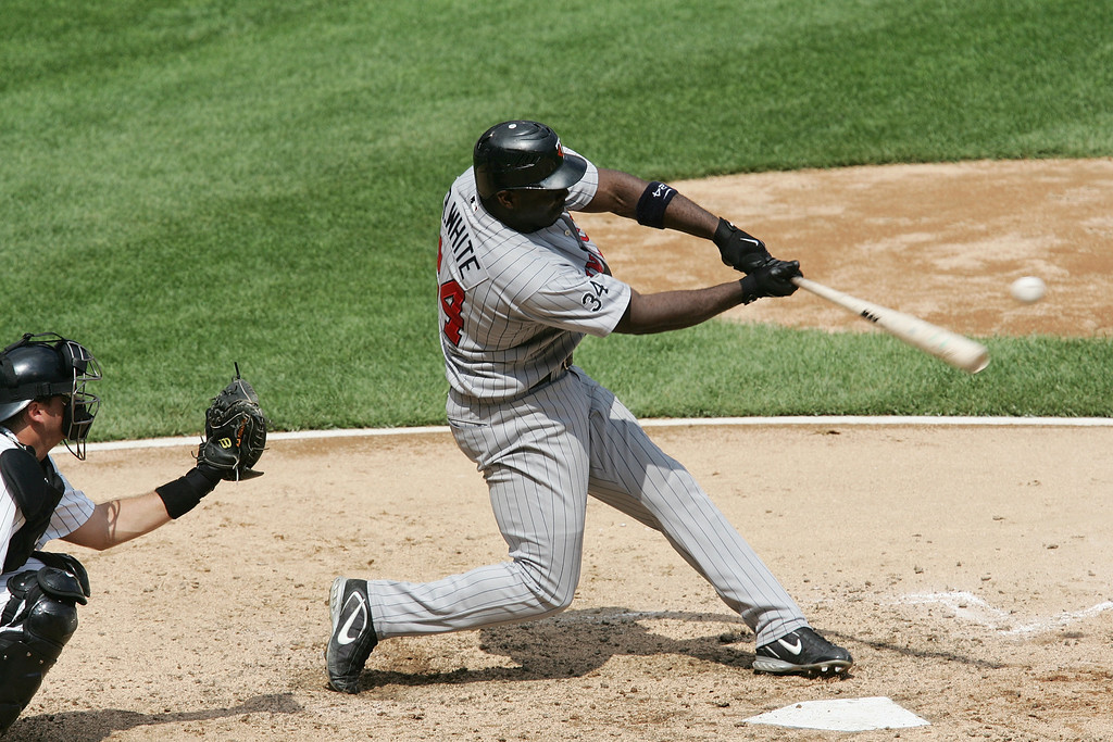 . RONDELL WHITE -- Rondell White #24 of the Minnesota Twins bats against the Chicago White Sox on July 26, 2006 at U.S. Cellular Field in Chicago, Illinois.  (Photo by Jonathan Daniel/Getty Images)