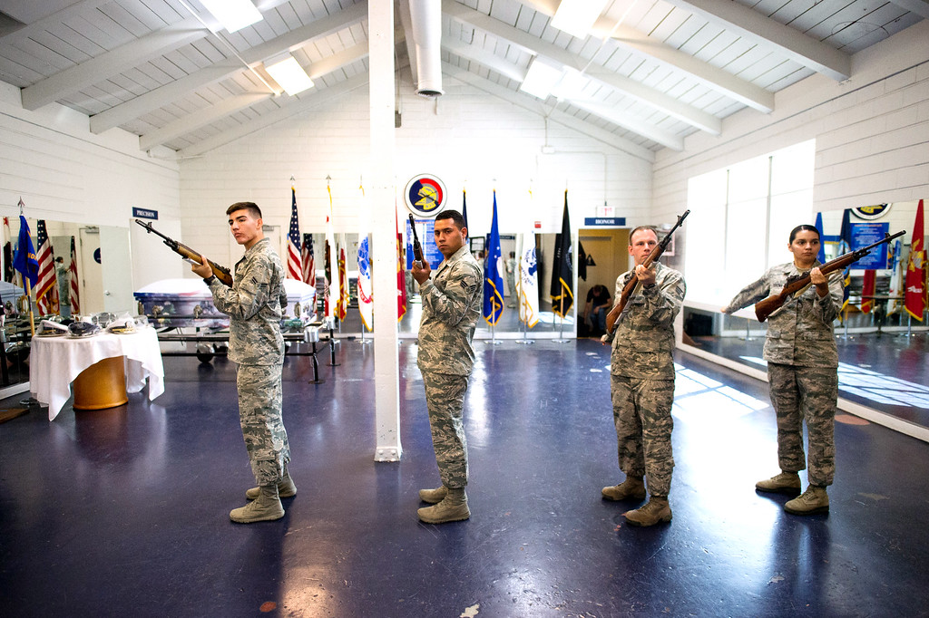 . Trainees in the Blue Eagles Honor Guard practice with their training rifle at March Air Reserve Base in Riverside, Calif. on Tuesday, May 12, 2015. The new trainees must complete three weeks of technical training before they are qualified to participate in the Honor Guard�s mission.(Photo by Watchara Phomicinda/ Los Angeles Daily News)