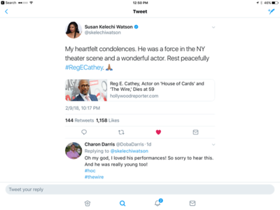 Reg E. Cathey Social Media Tributes