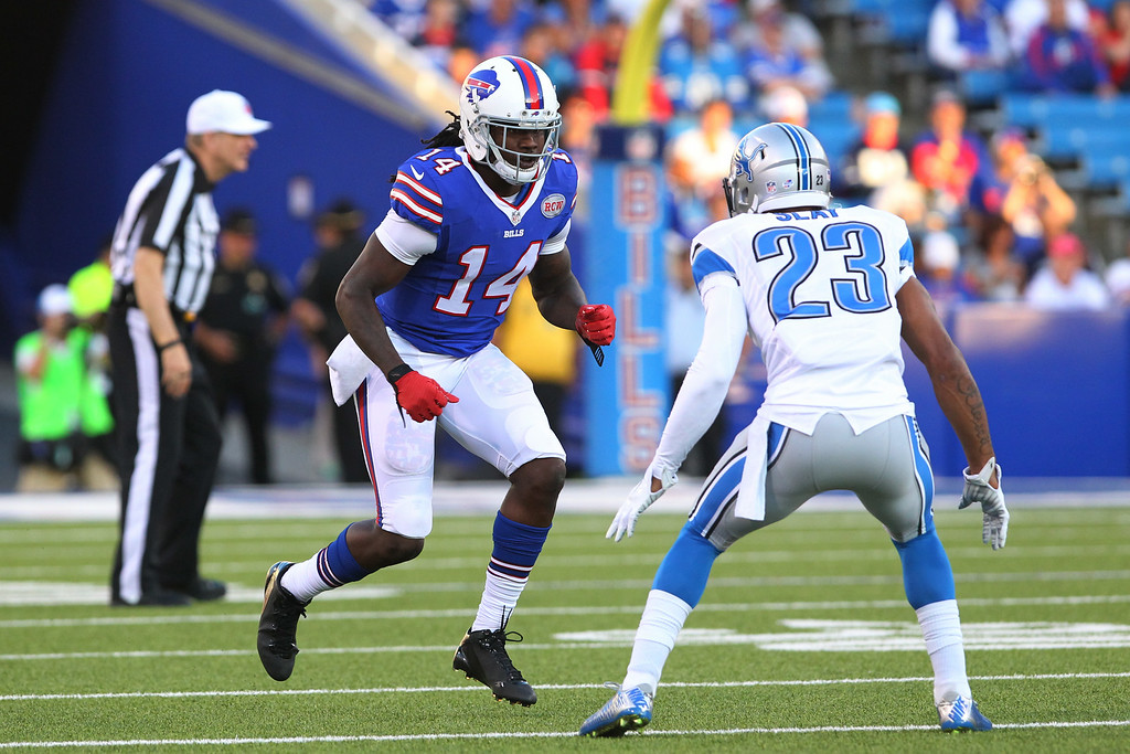 . Buffalo Bills wide receiver Sammy Watkins (14) runs a route against Detroit Lions cornerback Darius Slay (23) during the first half of a preseason NFL football game, Thursday, Aug. 28, 2014, in Orchard Park, N.Y. (AP Photo/Bill Wippert)