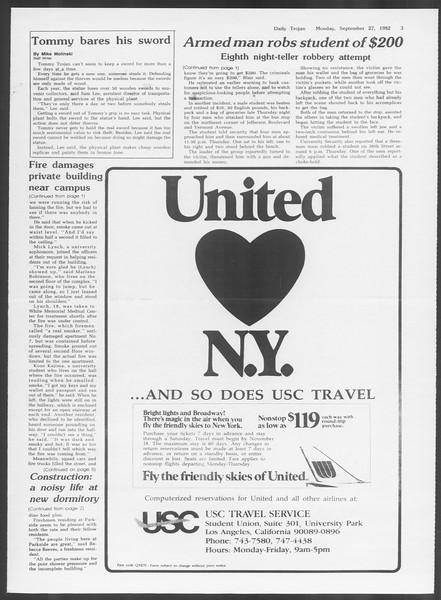 Daily Trojan, Vol. 92, No. 15, September 27, 1982