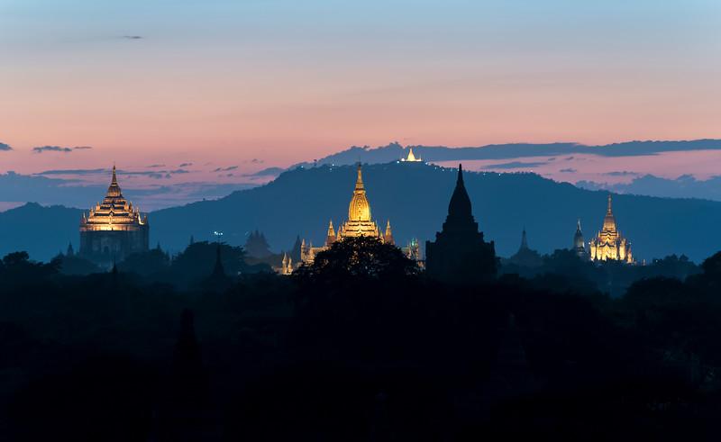 Bagan temples at night