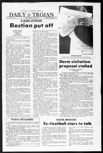 Daily Trojan, Vol. 62, No. 111, April 27, 1971