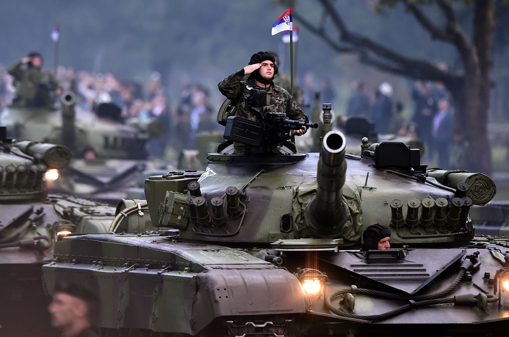 . Serbian Army tank M 84A moves during a military parade in Belgrade on October 16, 2014. ANDREJ ISAKOVIC/AFP/Getty Images