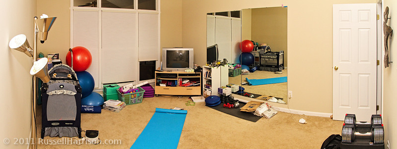 """We finally got Doracy's bed rest room converted  back into her exercise room.  No more bed taking up all the space.  Funny thing is we keep calling it the """"bed rest room""""."""