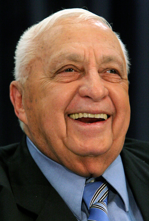 . A file picture dated 01 December 2005 shows then Israeli Prime Minister Ariel Sharon during a press conference in Tel Aviv, Israel.   EPA/JIM HOLLANDER