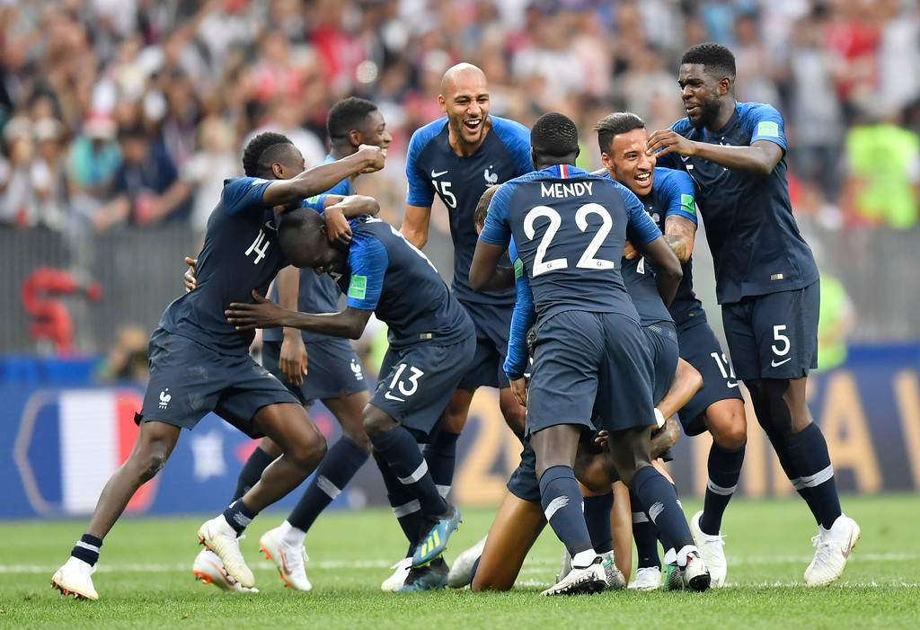 . French players celebrate winning 4-2 during the final match between France and Croatia at the 2018 soccer World Cup in the Luzhniki Stadium in Moscow, Russia, Sunday, July 15, 2018. (AP Photo/Martin Meissner)