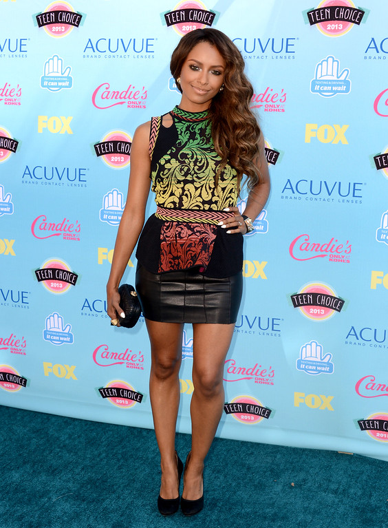 . Kat Graham arrives at the Teen Choice Awards at the Gibson Amphitheater on Sunday, Aug. 11, 2013, in Los Angeles. (Photo by Jordan Strauss/Invision/AP)