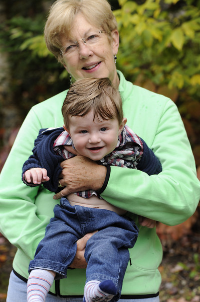 Jack enjoying Vermont's cool weather with Grandma Cheryl