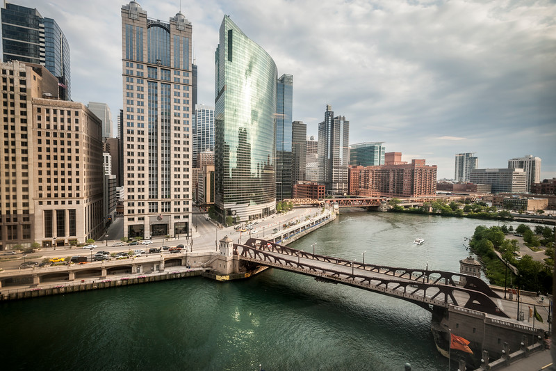 Buildings on the bank of the Chicago River at its bifurcation to the north and south branches