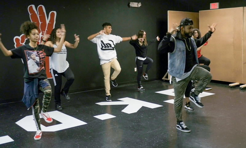 (From left to right Sofia Casco, Nyssa Figueroa, Christian Pineiro, P.J. Giordano,  Flaco Luna and Yesenia Mendoza). Jorge Dante Luna, better known as Flaco Luna (right), owner of Oganized Kaos Dance Academy in Lake Worth, teaches a group his students new choreography, on Tuesday, March 19, 2019. [JOSEPH FORZANO/palmbeachpost.com]