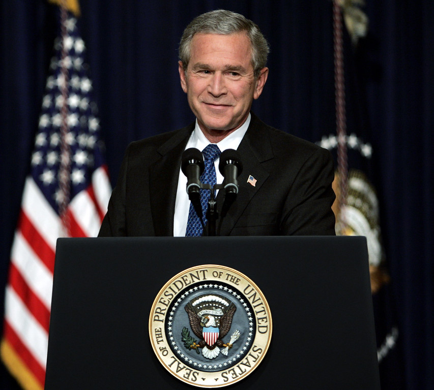 . 2004: George W. Bush. President Bush pauses during his first press conference following his re-election at the Eisenhower Executive Office Building Thursday, Nov. 4, 2004 in Washington. (AP Photo/Charles Dharapak)