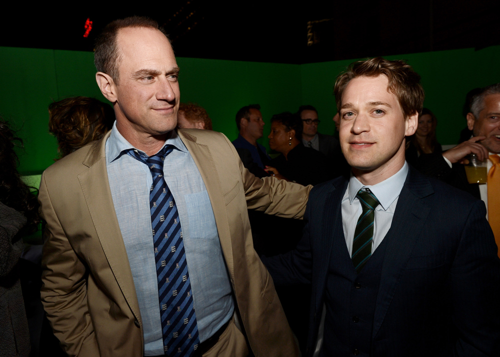 ". Actors Christopher Meloni (L) and T.R. Knight pose at the after party for the premiere of Warner Bros. Pictures\' and Legendary Pictures\' ""42\"" at the Chinese Theatre on April 9, 2013 in Los Angeles, California.  (Photo by Kevin Winter/Getty Images)"