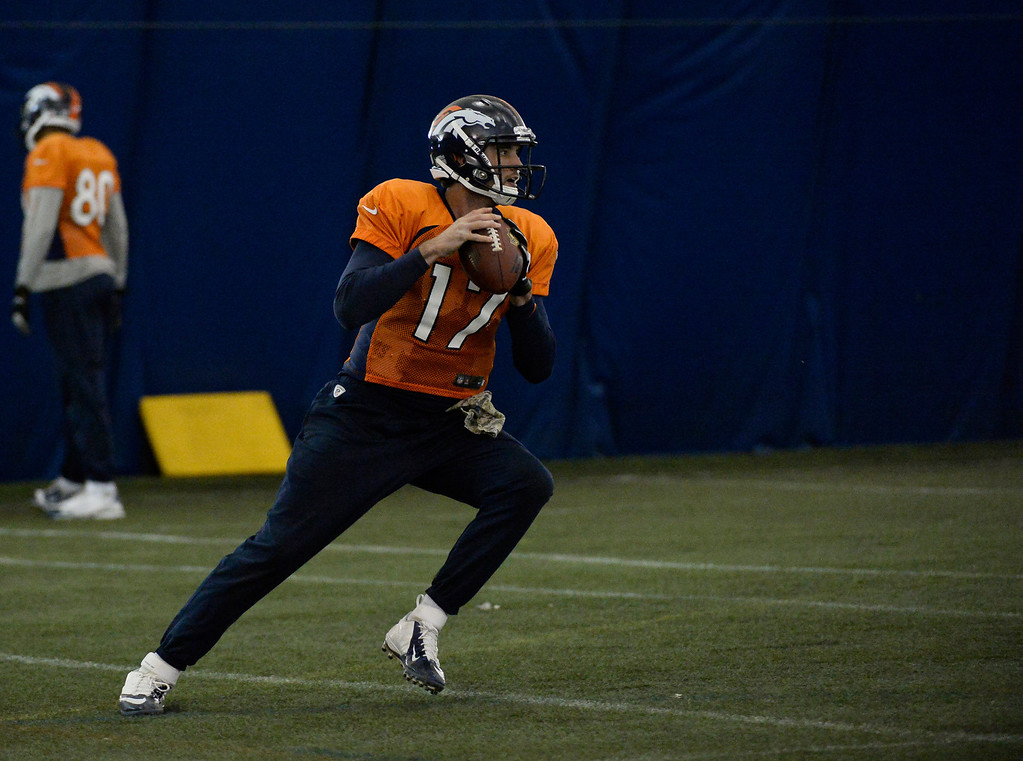 . ENGLEWOOD, CO - DECEMBER 4: Denver Broncos quarterback Brock Osweiler (17) drops back to pass during practice November 4, 2013 at Dove Valley (Photo by John Leyba/The Denver Post)