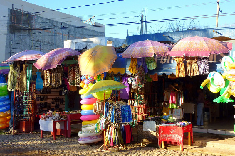 Colorful souvenir stand in Chacala