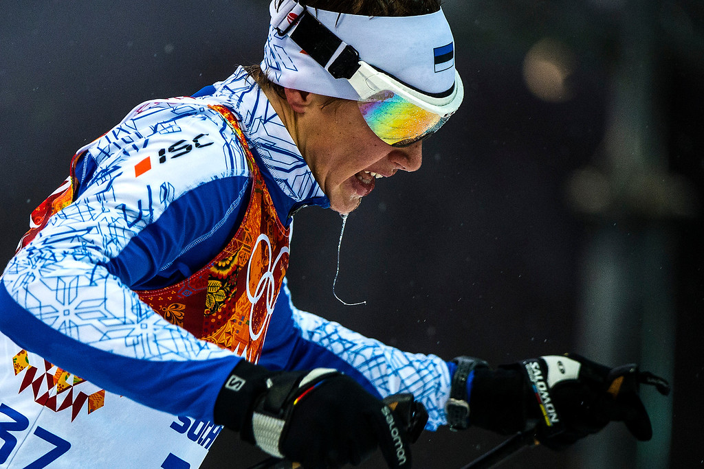 . KRASNAYA POLYANA, RUSSIA  - JANUARY 18: Han-Hendrik Piho, of Estonia, competes in the Nordic combined 10km cross-country ski competition at the Gorki Ski Jumping Center during the 2014 Sochi Olympics Tuesday February 18, 2014. Piho finished in 36th place with a time of 24:00.0.  (Photo by Chris Detrick/The Salt Lake Tribune)