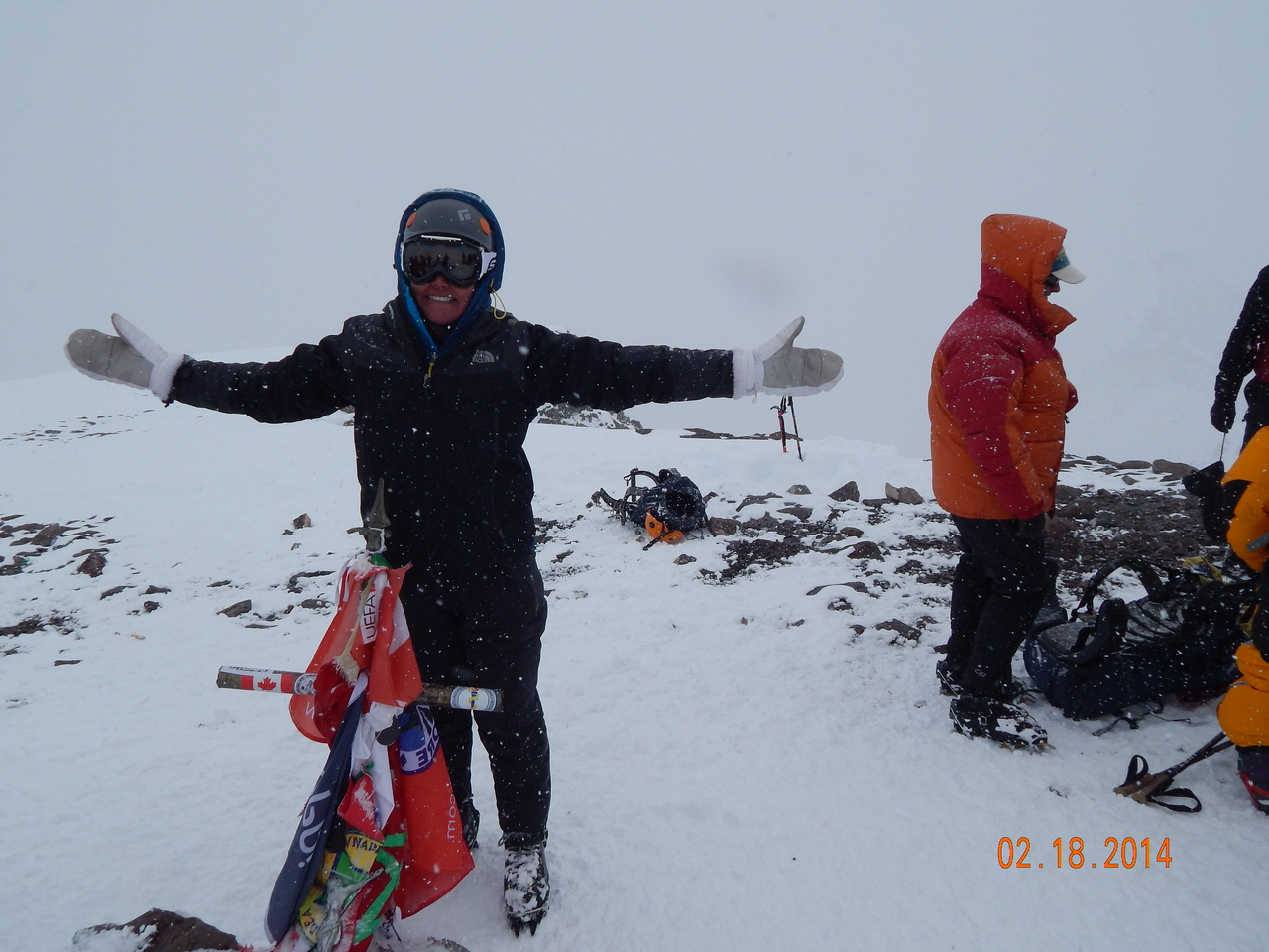 22,841 foot Summit. The cross signifies the real summit.